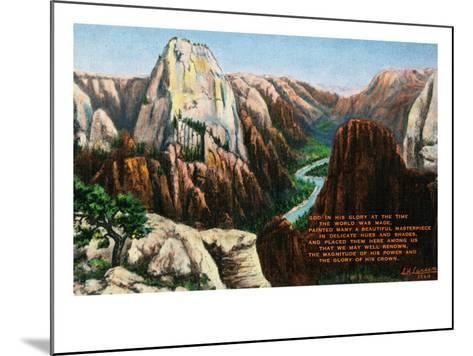 View of Angels Landing and the Great White Throne, Zion National Park, Utah-Lantern Press-Mounted Art Print
