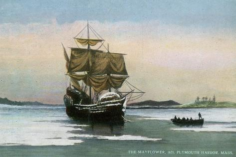 Plymouth, Massachusetts, Representation of the 1621 Mayflower Landing-Lantern Press-Stretched Canvas Print