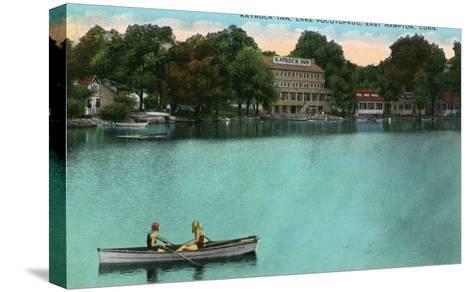 East Hampton, Connecticut, Lake Pocotopaug View of Kayrock Inn-Lantern Press-Stretched Canvas Print