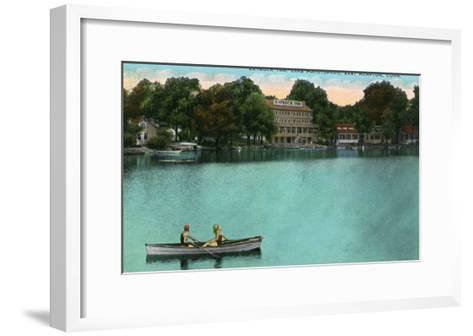 East Hampton, Connecticut, Lake Pocotopaug View of Kayrock Inn-Lantern Press-Framed Art Print
