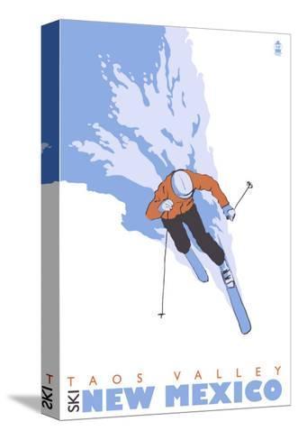 Taos Valley, New Mexico, Stylized Skier-Lantern Press-Stretched Canvas Print