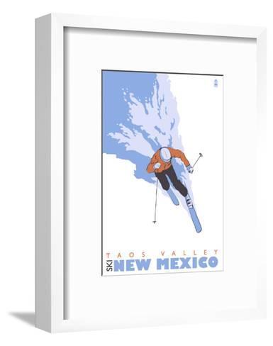 Taos Valley, New Mexico, Stylized Skier-Lantern Press-Framed Art Print