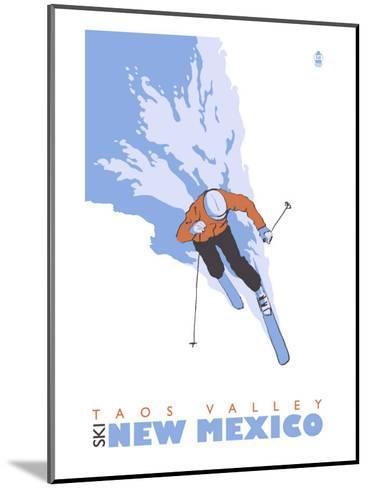Taos Valley, New Mexico, Stylized Skier-Lantern Press-Mounted Art Print