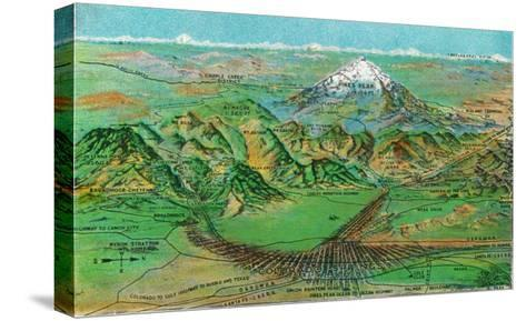 Colorado, Panoramic View of Pikes Peak and the Region, Map-Lantern Press-Stretched Canvas Print