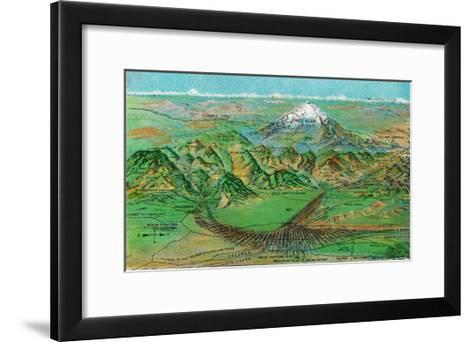 Colorado, Panoramic View of Pikes Peak and the Region, Map-Lantern Press-Framed Art Print