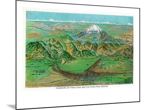 Colorado, Panoramic View of Pikes Peak and the Region, Map-Lantern Press-Mounted Art Print