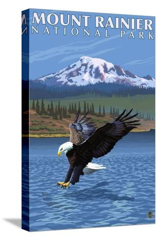 Mt. Rainier National Park, Washington, Eagle Fishing-Lantern Press-Stretched Canvas Print