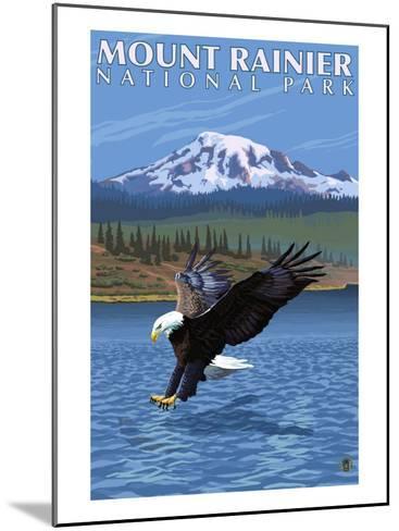 Mt. Rainier National Park, Washington, Eagle Fishing-Lantern Press-Mounted Art Print
