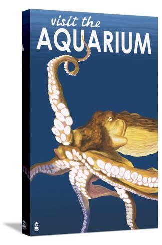 Visit the Aquarium, Octopus Scene-Lantern Press-Stretched Canvas Print