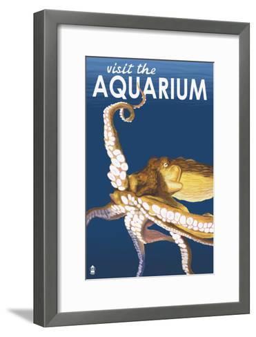 Visit the Aquarium, Octopus Scene-Lantern Press-Framed Art Print