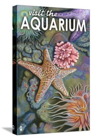Visit the Aquarium, Tidepool Scene-Lantern Press-Stretched Canvas Print