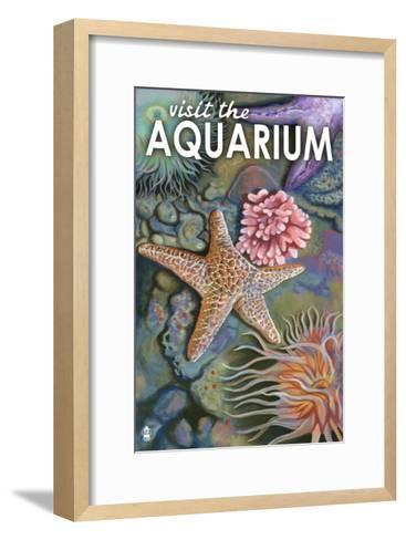 Visit the Aquarium, Tidepool Scene-Lantern Press-Framed Art Print