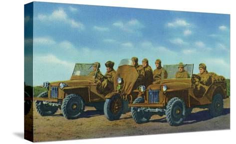 View of Soldiers in Bantam Cars in the US Armored Division-Lantern Press-Stretched Canvas Print