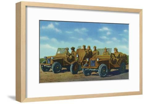 View of Soldiers in Bantam Cars in the US Armored Division-Lantern Press-Framed Art Print