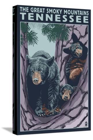 Great Smoky Mts National Park, TN, Black Bear and Cubs in Tree-Lantern Press-Stretched Canvas Print