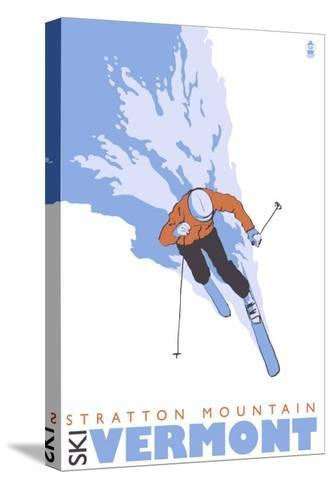 Stratton Mountain, Vermont, Stylized Skier-Lantern Press-Stretched Canvas Print