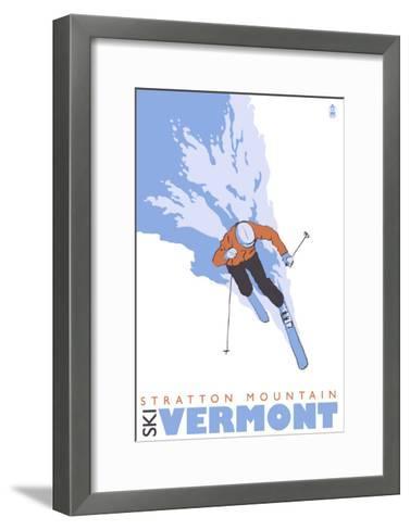Stratton Mountain, Vermont, Stylized Skier-Lantern Press-Framed Art Print