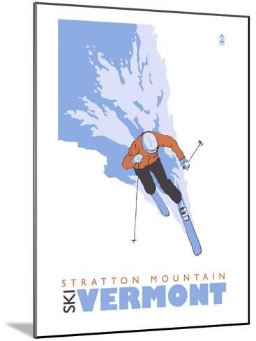 Stratton Mountain, Vermont, Stylized Skier-Lantern Press-Mounted Art Print