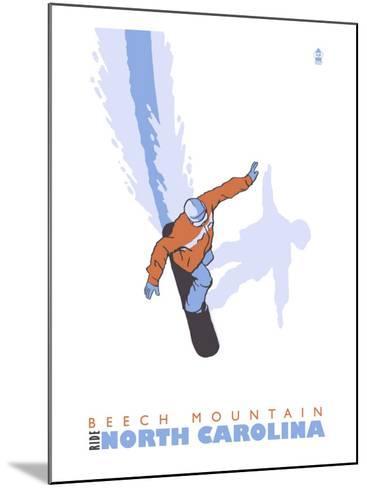 Beech Mountain, North Carolina, Stylized Snowboarder-Lantern Press-Mounted Art Print