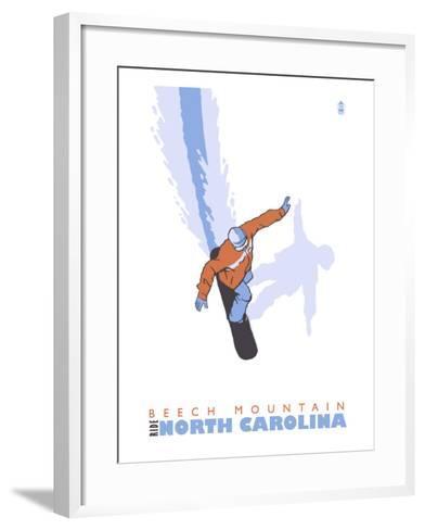 Beech Mountain, North Carolina, Stylized Snowboarder-Lantern Press-Framed Art Print