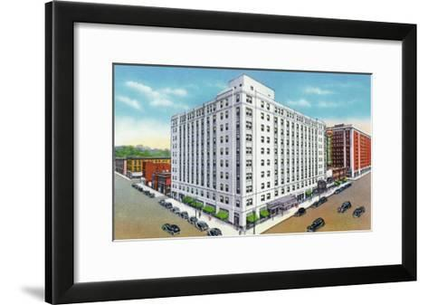 Davenport, Iowa, Exterior View of the Mississippi Hotel and Theatre Building-Lantern Press-Framed Art Print