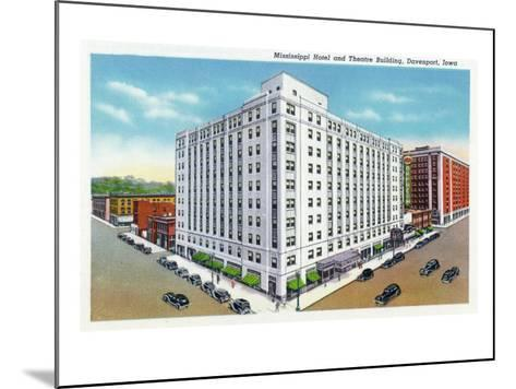 Davenport, Iowa, Exterior View of the Mississippi Hotel and Theatre Building-Lantern Press-Mounted Art Print