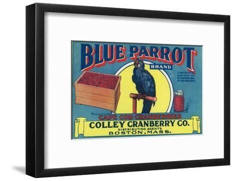 Boston, Massachusetts, Blue Parrot Brand Cape Cod Cranberry Label-Lantern Press-Framed Art Print