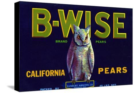 California, B-Wise Brand Pear Label-Lantern Press-Stretched Canvas Print
