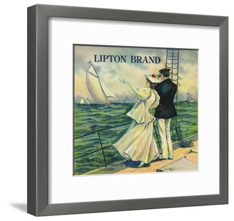 Upland, California, Lipton Brand Citrus Label-Lantern Press-Framed Art Print