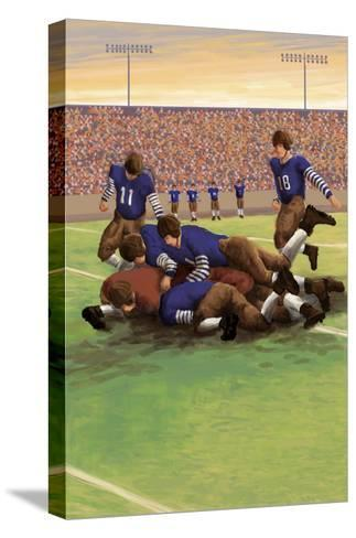 Dogpile Football Scene-Lantern Press-Stretched Canvas Print