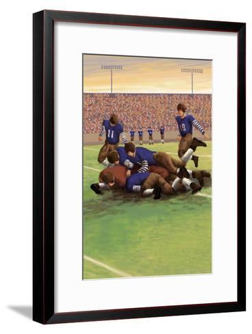 Dogpile Football Scene-Lantern Press-Framed Art Print