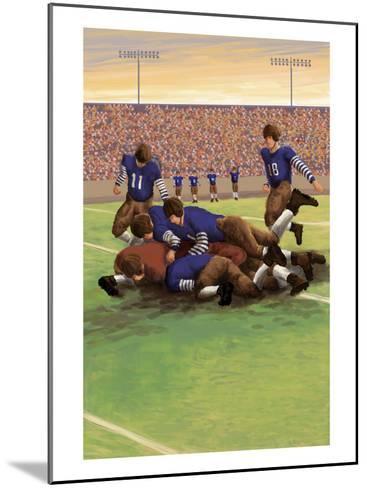Dogpile Football Scene-Lantern Press-Mounted Art Print