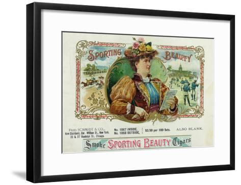 Sporting Beauty Brand Cigar Inner Box Label, Horse Racing-Lantern Press-Framed Art Print