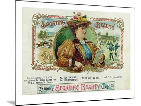 Sporting Beauty Brand Cigar Inner Box Label, Horse Racing-Lantern Press-Mounted Art Print