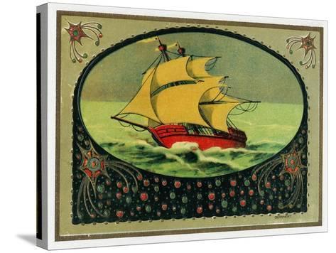 Scene of a Ship at Sea Cigar Box Label, Nautical-Lantern Press-Stretched Canvas Print