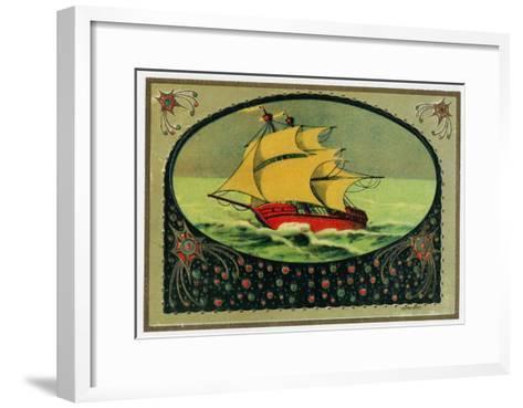 Scene of a Ship at Sea Cigar Box Label, Nautical-Lantern Press-Framed Art Print