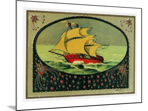 Scene of a Ship at Sea Cigar Box Label, Nautical-Lantern Press-Mounted Art Print