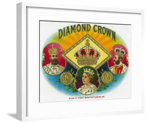 Diamond Crown Brand Cigar Box Label-Lantern Press-Framed Art Print