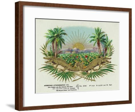 Two Alligators in a Tobacco Field Brand Cigar Box Label-Lantern Press-Framed Art Print