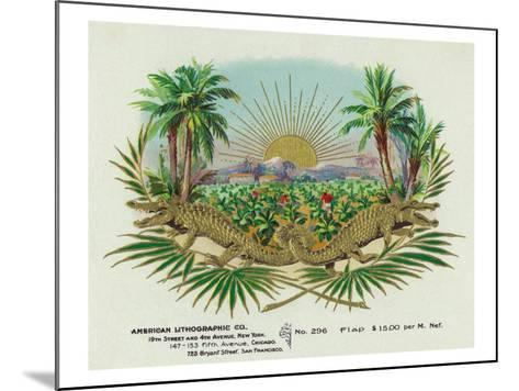Two Alligators in a Tobacco Field Brand Cigar Box Label-Lantern Press-Mounted Art Print