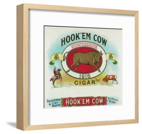Hook'em Cow Brand Cigar Box Label-Lantern Press-Framed Art Print