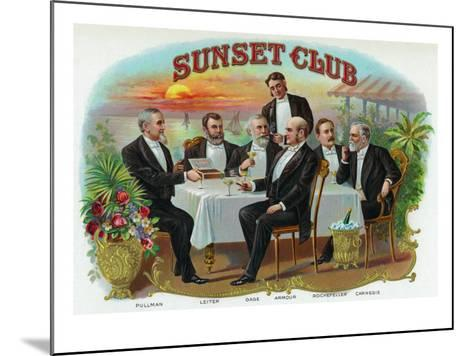Sunset Club Brand Cigar Box Label-Lantern Press-Mounted Art Print