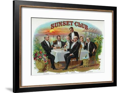 Sunset Club Brand Cigar Box Label-Lantern Press-Framed Art Print