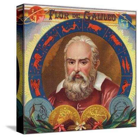 Flur de Galileo Brand Cigar Box Label, Galileo Galilei-Lantern Press-Stretched Canvas Print