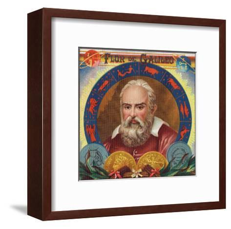 Flur de Galileo Brand Cigar Box Label, Galileo Galilei-Lantern Press-Framed Art Print