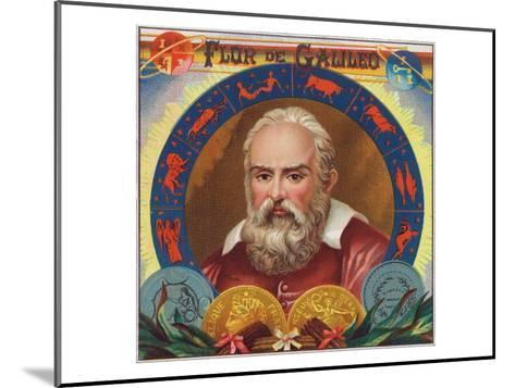 Flur de Galileo Brand Cigar Box Label, Galileo Galilei-Lantern Press-Mounted Art Print