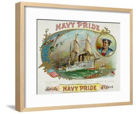 Navy Pride Brand Cigar Box Label-Lantern Press-Framed Art Print