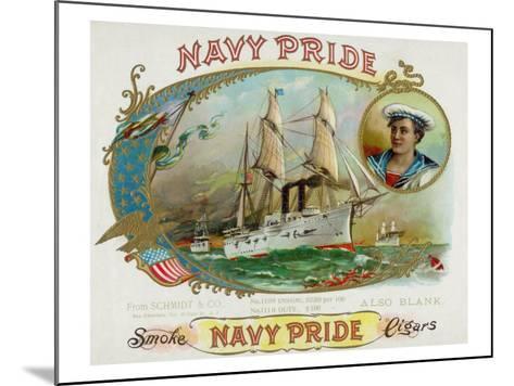 Navy Pride Brand Cigar Box Label-Lantern Press-Mounted Art Print