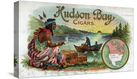 Hudson Bay Brand Cigar Inner Box Label, Native American-Lantern Press-Stretched Canvas Print