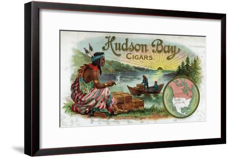 Hudson Bay Brand Cigar Inner Box Label, Native American-Lantern Press-Framed Art Print